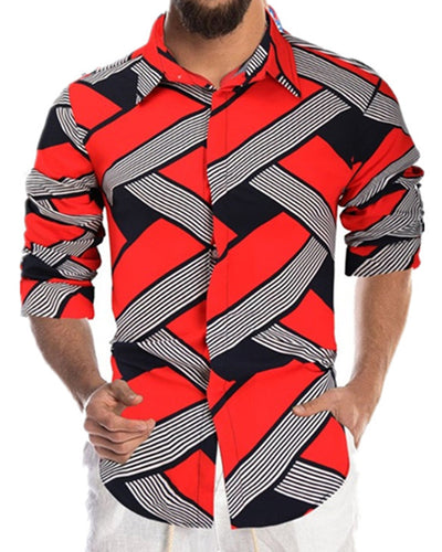 Color Block Striped Single-breasted Long Sleeve T-shirt
