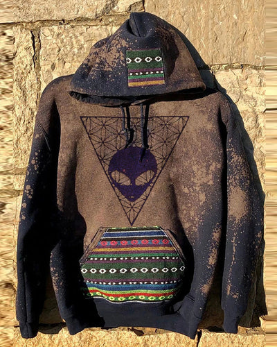 Alien Print Long Sleeve Hooded Sweatshirts