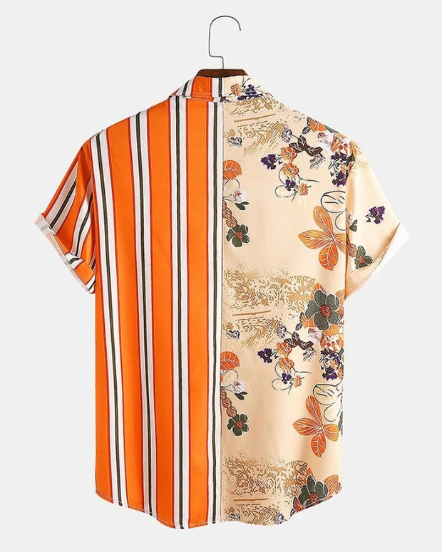 Striped Floral Patchwork Short Sleeve Button-up Shirts