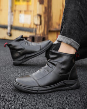 Solid Round-toe Zipper Leather Boots