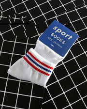 Multicolor Three Striped Cotton Socks