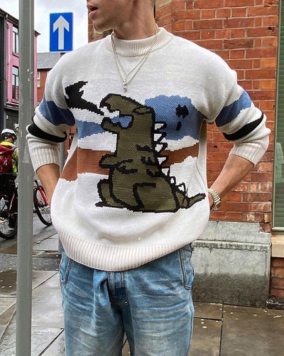 Dinosaur Cartoon Printing Long Sleeve Sweater