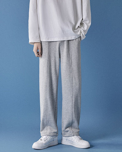 Solid Color Long Straight Baggy Pants