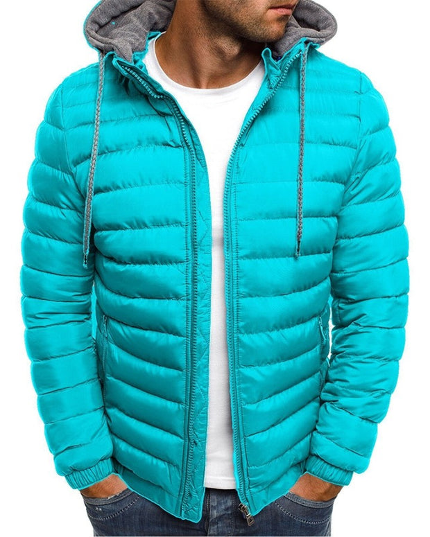 Solid Long Sleeve Hooded Patchwork Quilted Coats