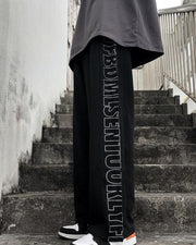 Letter Print Straight Baggy Pants