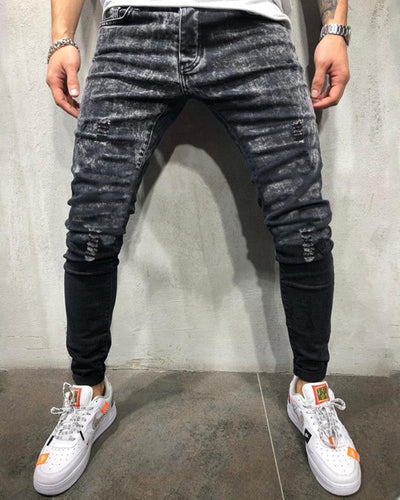 Stylish Gradient Snowflakes Hole Jeans