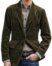Solid Corduroy Long Sleeve Fitting Coats