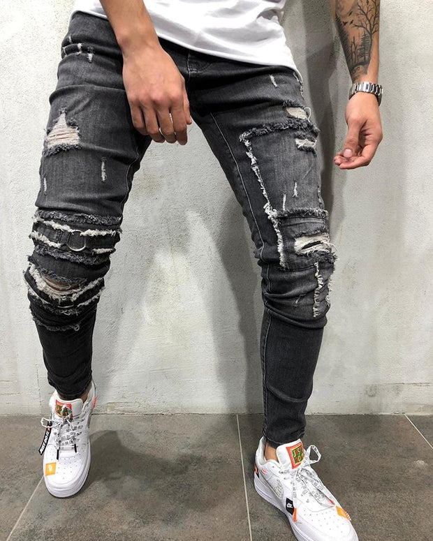 Solid Color Washing Skinny Ripped Jean Pants