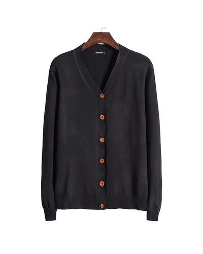 Solid Long Sleeve Button-down Cardigans