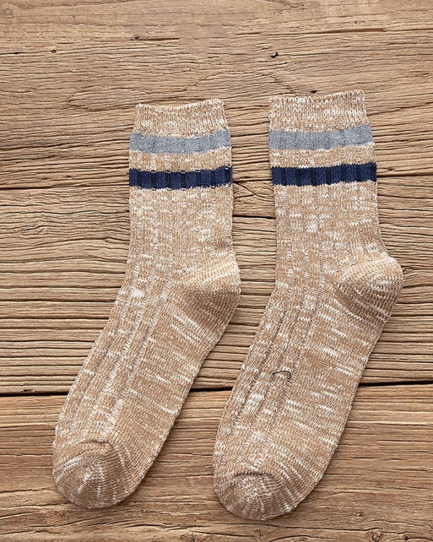 Color Block Striped Cotton Socks
