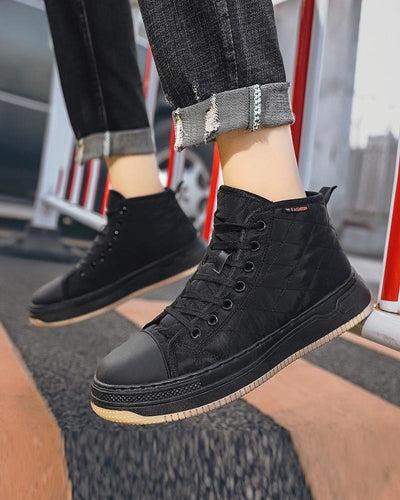 Lace-up Round-toe Solid Color Sneakers