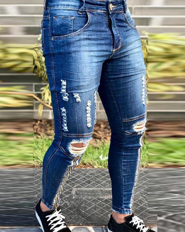 Solid Color Zipper Skinny Ripped Jean Pants