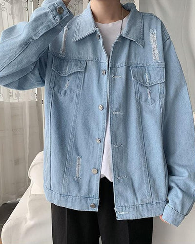 Solid Long Sleeve Loose Button-up Denim Coats