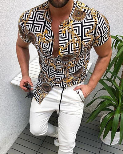 Chain Print Short Sleeve Shirt