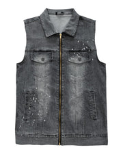 Solid Wshing Effect Sleeveless Denim Vest Coats