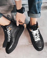Logo Patch Round-toe Lace-up High Top Sneakers