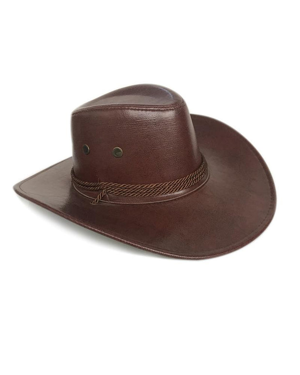 Vintage Style Solid Color Leather Western Cowboy Hats