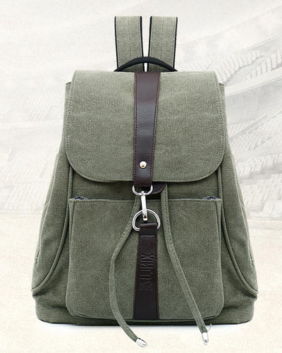Solid Color Drawstring Canvas Backpack