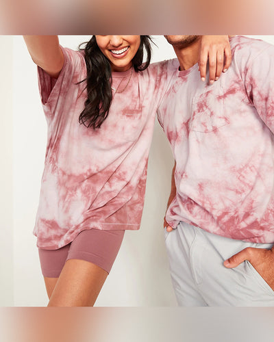 Tie Dye Long Sleeve Loose Hooded Couple T-shirts