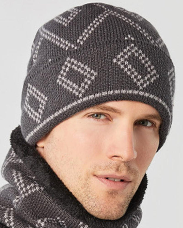 Square pattern Printing Knitted Hats