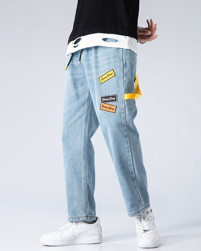 Solid Color Splicing Label Print Straight Baggy Jean Pants