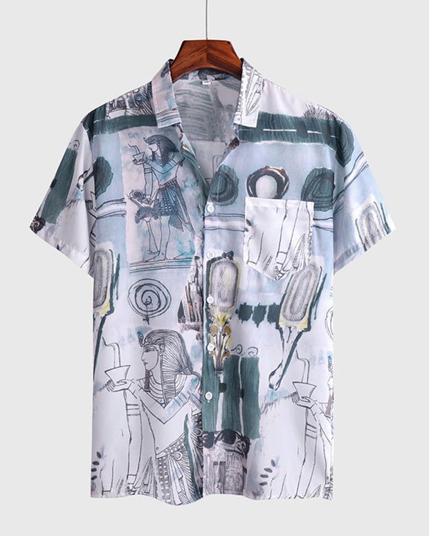 Graphic Patterns Short Sleeve Button-up Shirts