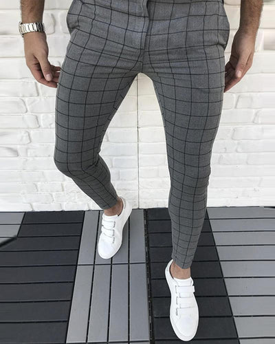 Men's Grid Solid Color Pencil Pants