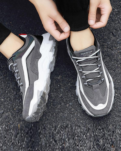 Color Block Lace-up Round Toe Sport Sneakers