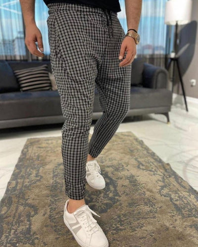 Gingham Print Slim Harem Pants