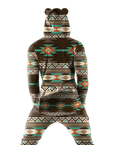 Retro Patterns Long Sleeve Bear Hoodies Onesie Pajamas