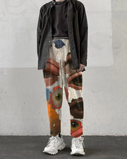 Abstract Painting Print Straight Baggy Pants