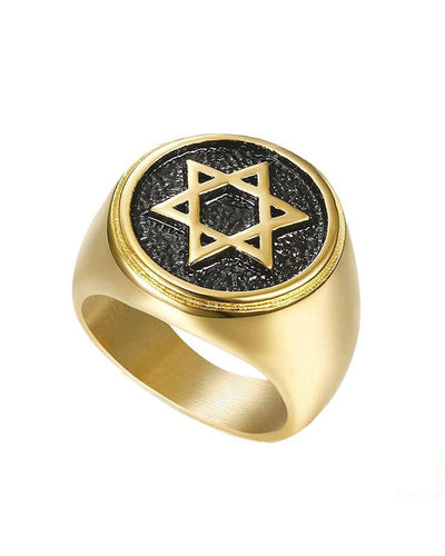 Titanium Steel Gold-plated Six-pointed Star ring