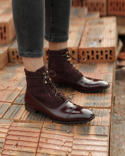 Stitching Solid Color Lace-up Square-toe Boots