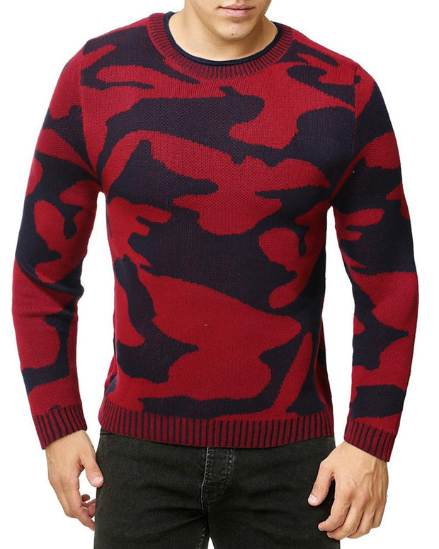 Camouflage Long Sleeve Fitting Sweater