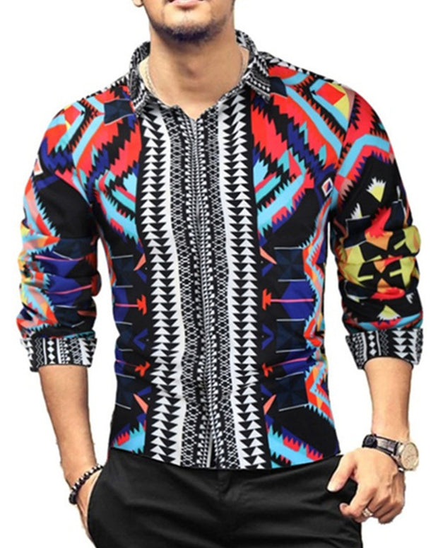 Gothic Style All Over Print Single-breasted Long Sleeve T-shirt
