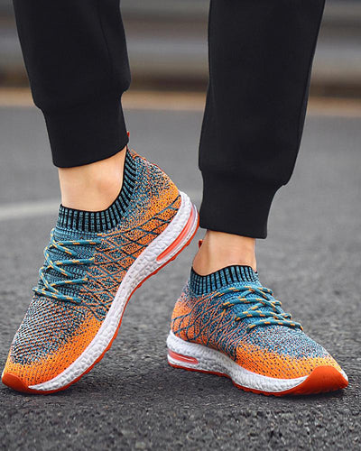 Multicolor Mesh Breathable Lace-up Sneakers