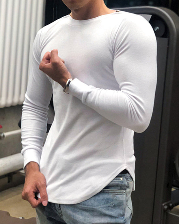 Solid Long Sleeve Fitting Slit Knit T-shirt