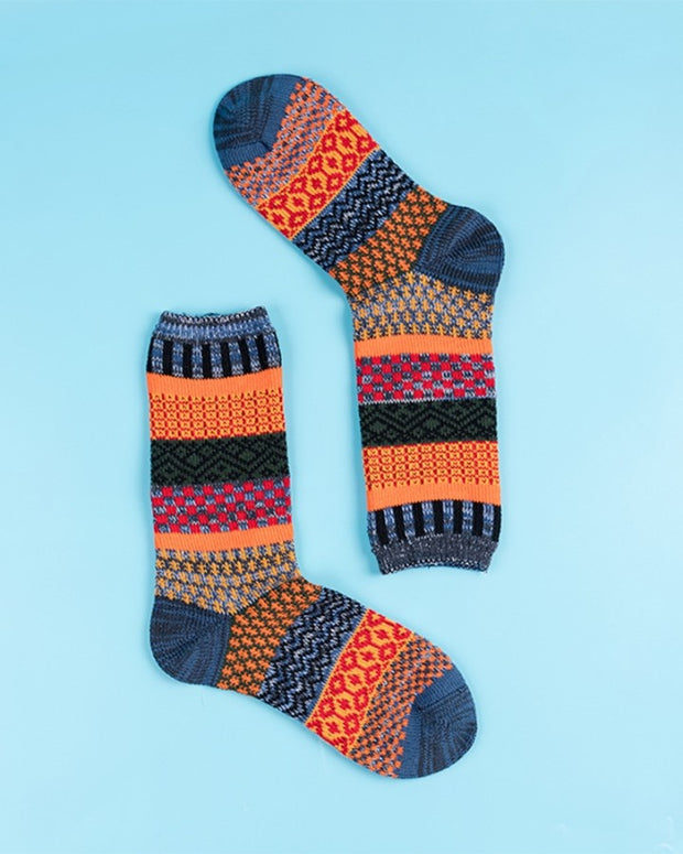 Retro Multicolor Stripe Midi-calf Socks