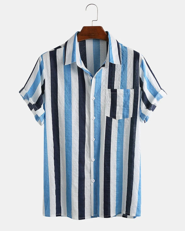 Multicolor Stripe Short Sleeve Loose Button-up Shirts