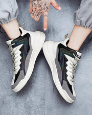Colorblock Patchwork Round-toe Sporty Lace-up Sneakers