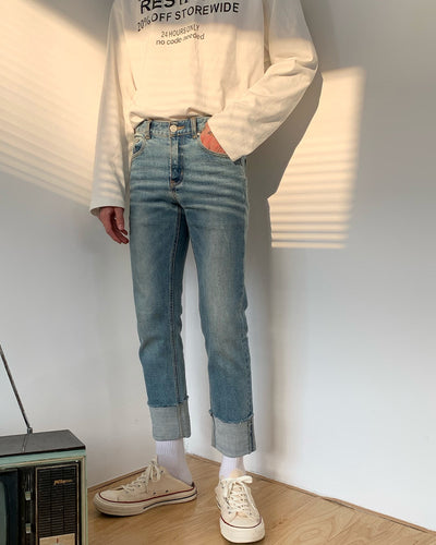 Solid Washing Effect Cuffed Denim Pants Jeans