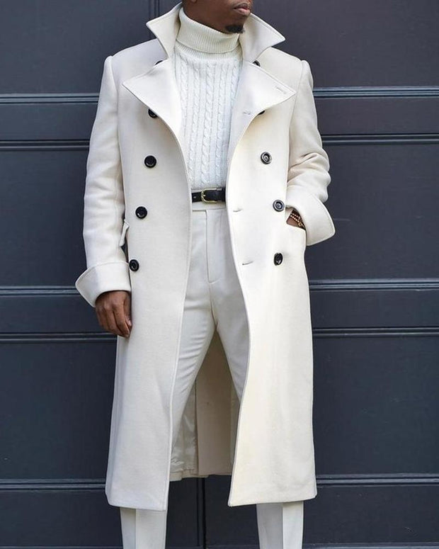 Solid Long Sleeve Double-breasted Midi Coats