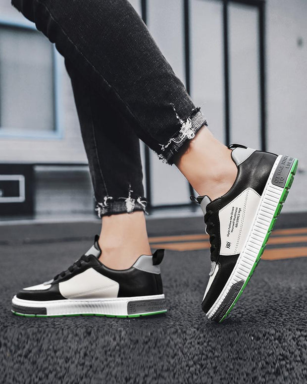 Colorblock Lace-up Breathable Leather Flat Sneakers