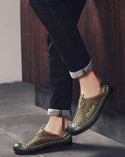 Color Block Round-toe Shallow Mouth Slip-on