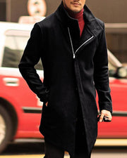 Solid Zipper Long Sleeve Fitting Coats