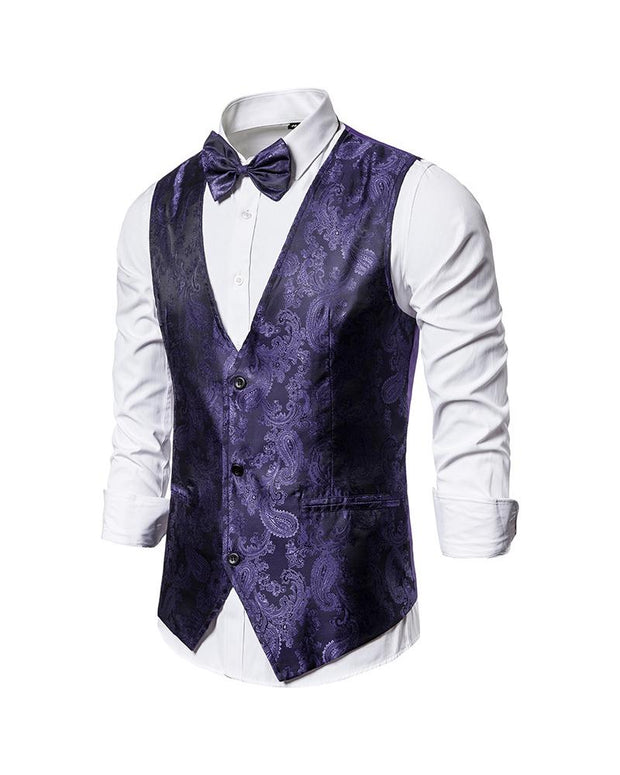 Solid Jacquard Sleeveless Single-breasted Vest