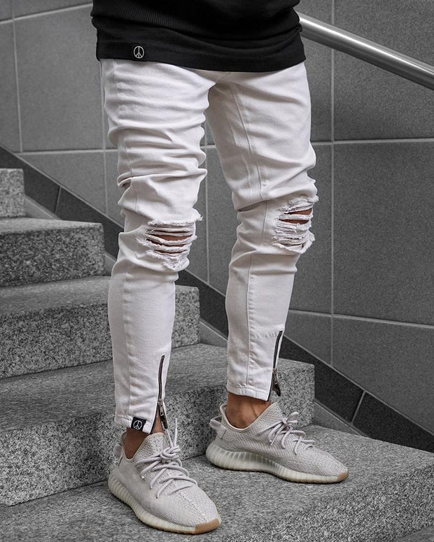 Zip-Leg Ripped Knee Jeans