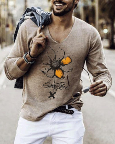 Daisy Print Long Sleeve Loose T-shirts