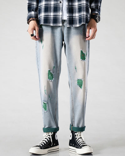 Solid Color Ripped Straight Baggy Pants