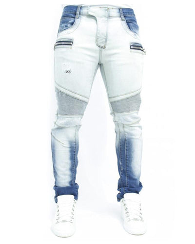 Color Block Gradient Splicing Pencil Jean Pants